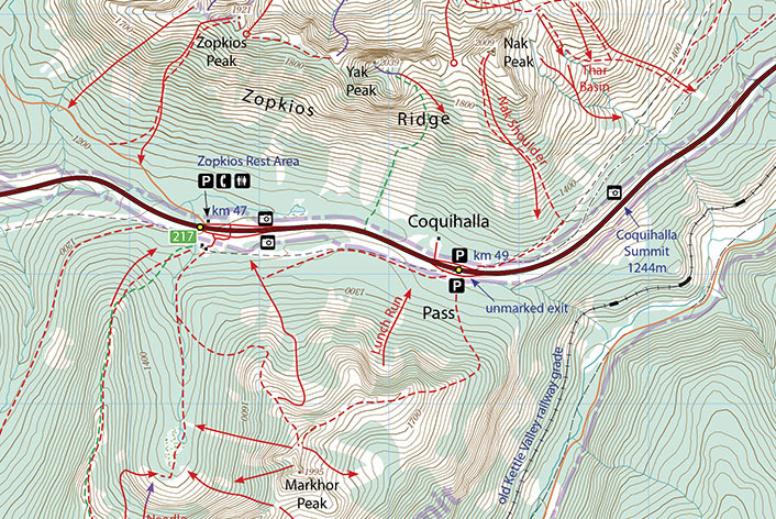 Coquihalla Summit Map on